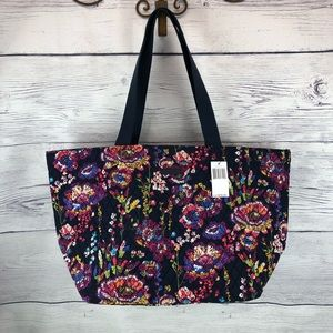 NWT Vera Bradley family tote Midnight Wildflowers